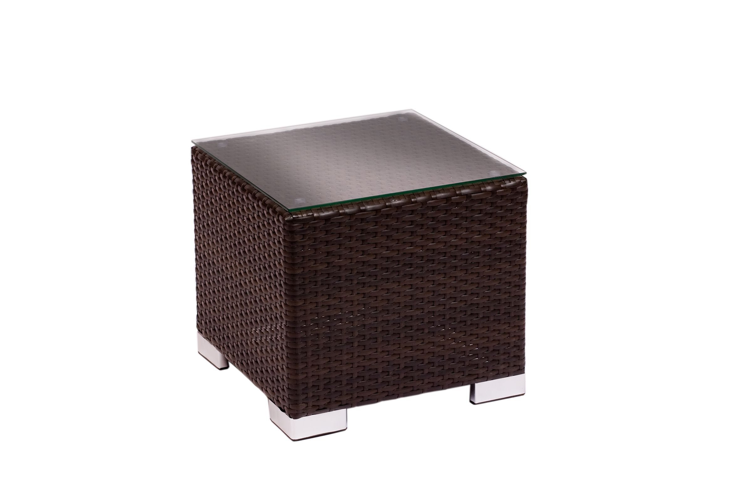 Aruba End Table Aluminum Java Synthetic Wicker No Glass
