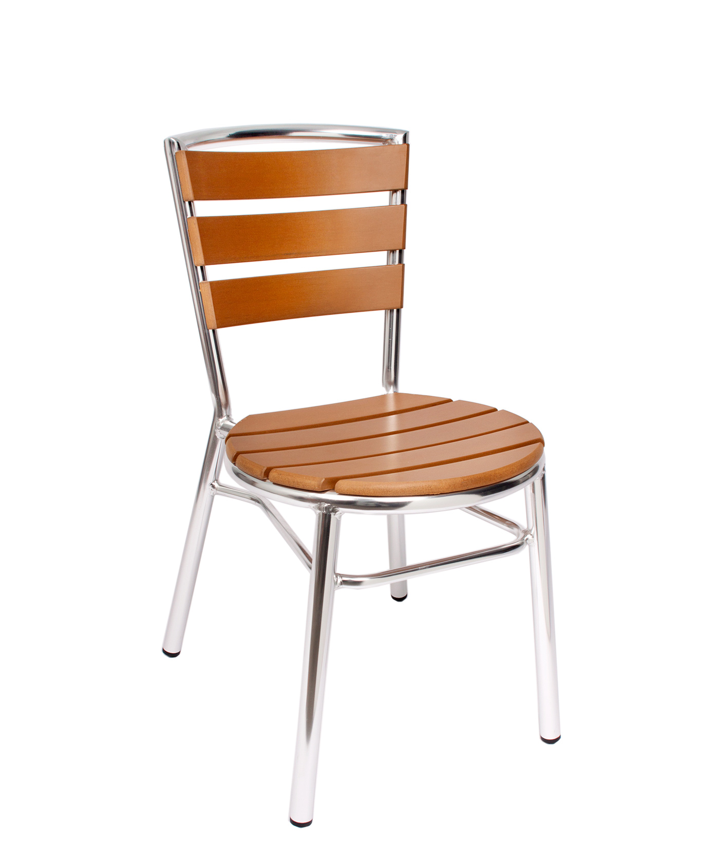 Norden outdoor stacking side chair with synthetic teak
