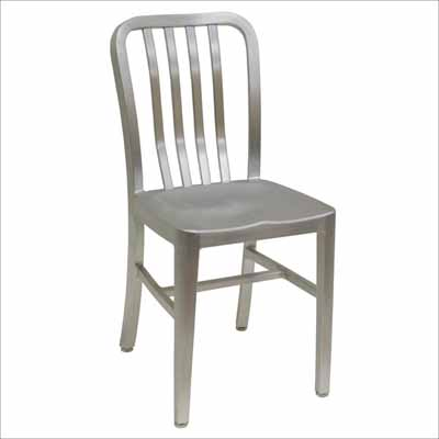 Captivating Slat Back Brushed Aluminum Chair