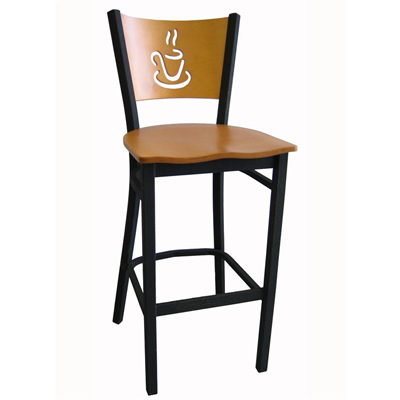 Metal Bar Stool with Coffee Cup Cutout Wood Back  sc 1 st  Millennium Seating & Metal Bar Stool with Coffee Cup Cutout Wood Back | Millennium ... islam-shia.org
