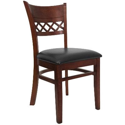 Lattice Back Wood Chair   Black Vinyl Seat, Dark Mahogany Finish