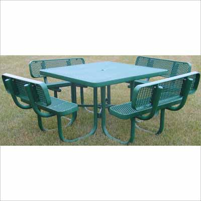 Champion Square Picnic Table With Backrests Millennium Seating - Mesh picnic table