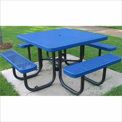 Champion 4 square picnic table millennium seating champion 4 square freestanding picnic table expanded metal mesh watchthetrailerfo
