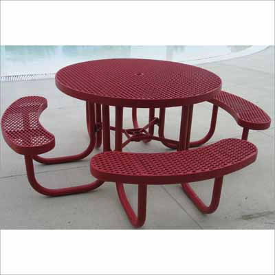 Champion Round Picnic Table Millennium Seating - Mesh picnic table