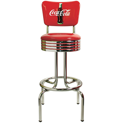 Coke Red Disc Icon Stool with Back