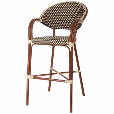 Aluminum Bamboo Outdoor Bar Stool With Woven Seat Back