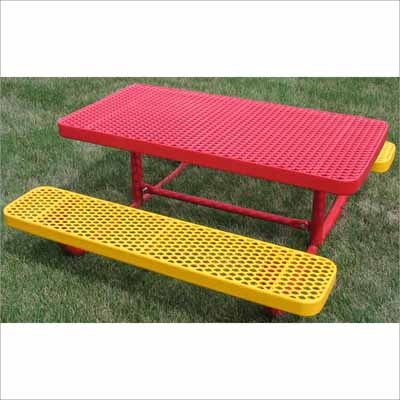 Childrens Champion Rectangle Freestanding Picnic Table - Mesh picnic table